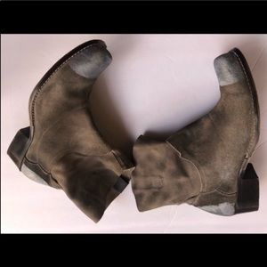 MATISSE GREY SUEDE square toe ankle COWGIRL7.5